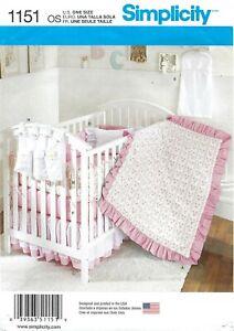 Simplicity 1151 Nursery Crib Sheet, Quilt, Dust Ruffle, Diaper Stacker PATTERN