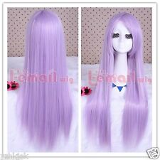Japanese Anime long lavender color straight cosplay Party wig Y77