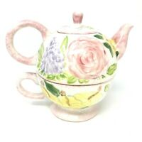 TEA FOR ONE English Country Floral Tea Pot & Cup Pink, Blue & Yellow flowers