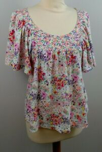 womens  angel sleeve bright floral print top H&M The garden collection size 12