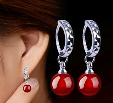 Agate red Earrings Silver Wedding bridesmaids prom Birthday  Bridle  643