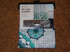 New Fabric Shower Curtain Set With 12 Roller Ball Hooks - 100% Polyester (CF-3)