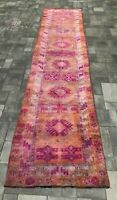 """Turkish Wool Runner, Vintage Hand Knotted Soft Pile 12'6""""x 2'9"""" FREE SHIPPING!"""
