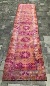 "Turkish Wool Runner, Vintage Hand Knotted Soft Pile 12'6""x 2'9"" FREE SHIPPING!"