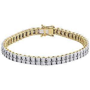"10K Yellow Gold Genuine Diamond 2 Row Tennis Link Bracelet Unisex 8"" | 2.35 CT."