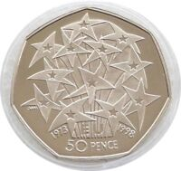 1998 British European Union 25th Anniversary 50p Fifty Pence Proof Coin