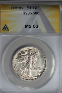 1935  .50   ANACS  MS 63  Walking Liberty, Half Dollar, Lady Liberty Half, 0.50