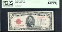 1928-D $5 Legal Tender Note G63627009A PCGS Very Choice New 64PPQ