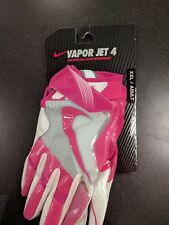 Nike Men's Vapor Jet 4 Football Gloves sz XXL [GF0559-616] white pink knit 2XL