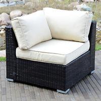 Outdoor Rattan Wicker Corner Sofa Couch Patio Garden Furniture w/ Cushion Brown