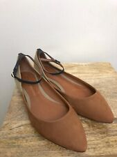 3e220ace1d09 Womens Schutz Flats Size 8 B Brown Tan Black Angle Strap Leather Sole Ballet