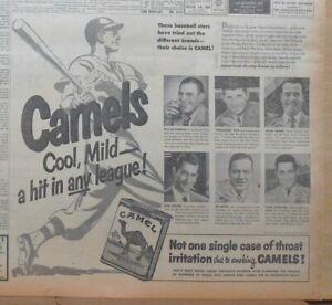 1951 newspaper ad for Camels - Baseball stars, Roe, Bauer, Lemon, Goodman, Lopat
