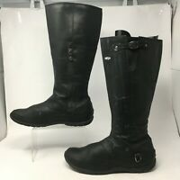 The North Face Womens 11 Casual Riding Boots Black Leather Zip Mid Calf Buckle