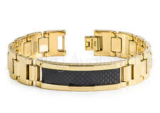 Yellow Gold Plated Tungsten Carbide ID Bracelet w/ Black Carbon Fiber Inlay