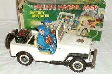 Alter TN Nomura Japan Blechspielzeug Patrol Jeep Polizei Police Auto Karton Box
