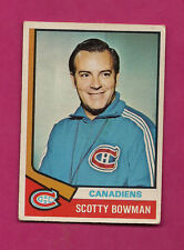 1974-75 OPC # 261 CANADIENS SCOTTY BOWMAN  ROOKIE   CARD