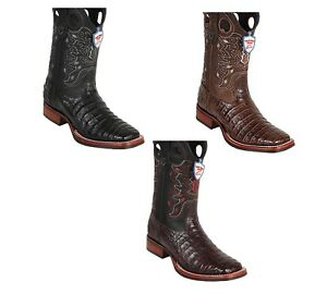 Men's Wild West Caiman Belly Boots Wide Square Toe Rubber Sole Handcrafted
