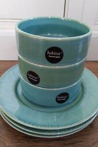 Habitat Bowls & Plates Green Reactive Glaze