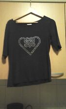 Black shirt Size EUR 40 - 144 with Tribal heart made of hotfix stones