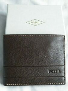 """FOSSIL"" Dark Brown Slim Fold Leather Wallet,Gift Boxed, BNWT"