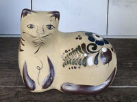 Tonala Mexican Folk Art Cat Sandstone Stoneware Pottery Hand Painted Collectible