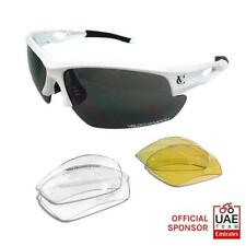 VeloChampion Tornado Cycling Running Sports Sunglasses - White with 3 Lenses