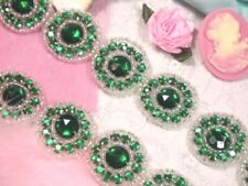"Green Jewel Rhinestone Trim Silver Beaded Edge Sewing Crafts Costumes 1.25"" 0379"