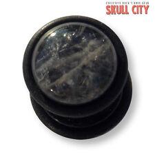 AMETISTA BLACK Gemstone Fakeplug-Fake piercing Stone plug orecchini a bottone Quarzo