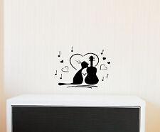 """11"""" CAT & GUITAR HEART MUSIC VINYL DECAL STICKER HOME WALLCUTE DECOR"""