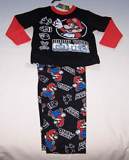 Nintendo Super Mario Boys Black Cotton Flannel Pyjama Set Size 3 New
