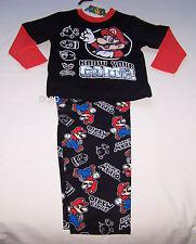 Nintendo Super Mario Boys Black Cotton Flannel Pyjama Set Size 3 New