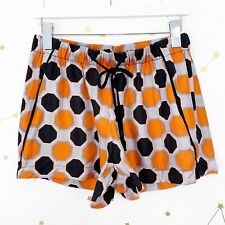 Milly Silk Shorts Size Medium M Black Geometric Print Elastic Waist High Rise