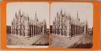 Brogi Milan Cattedrale Façade Foto Stereo PL55L2n3 Vintage Albumina c1880