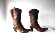 RIVER ISLAND GENUINE LEATHER COWBOY BOOTS IN BURNTCARAMEL COLOUR SIZE 6/39