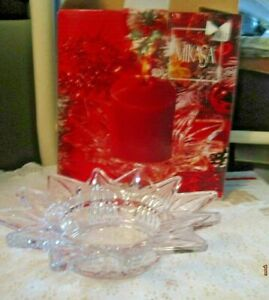 """""""MIKASA"""" Clear Glass Pillar Candle Holder Starmist WY928/756 CANDLE NOT INCLUDED"""