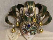 Authentic La Maschera Del Galeone Hand Painted Ventian Mask Green Gold Bells Nwt