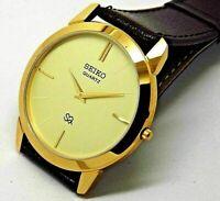 nice seiko quartz super slim men golden dial japan made watch run order
