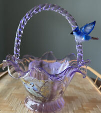 Bradford Exchange James Hautman Blue Jay Splendour Hand-Blown Glass Bowl