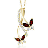 1.21 Ct Marquise Red Garnet 18K Yellow Gold Plated Silver Butterfly Pendant