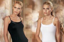 Damen Unterhemd Spaghettiträger Ärmellos Top Oberteil Shirt Spitze Weiß Schwarz
