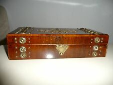 ANTIQUE BRASS BANDED AND BRASS ORNAMENTS DECORATED ROSEWOOD BOX