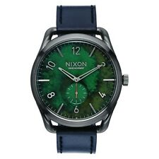 NEW NIXON C45 LEATHER GUNMETAL/GREEN OXYDE A465 2069