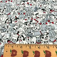 "FQ 18""x21"" Cotton Fabric White Gray Playful Pups with Red Bones Dogs Puppies"