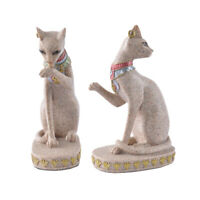 2x Sandstone Egyptian Mau Cat Statue Sculpture Hand Carved Figurine Decor