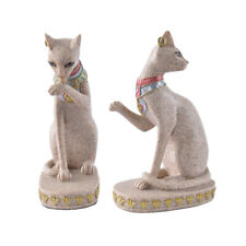 2x Sandstone Egyptian Mau Cat Statue Sculpture Hand Carved Figurine Decor