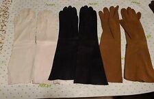"3 pr Vintage Ivory, Black, Brown Suede Doe/Kid Leather Gloves 7 14"" - 15"""