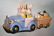 Fitz Floyd Oci Bunny Rabbit Omnibus Salt Pepper Shakers Set 1993 Easter Vintage