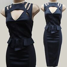 KAREN MILLEN Dramatic CUTOUT PEPLUM WOOL COCKTAIL EVENING PENCIL DRESS UK-12-10