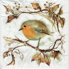 4x PAPER NAPKINS for Decoupage RED ROBIN CHRISTMAS