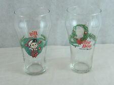 2 - Big Boy Holiday Christmas Wreath Soda Glasses Holly Bow Restaurant